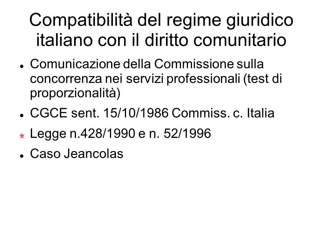 Compatibilità del regime giuridico italiano con il diritto comunitario Comunicazione della Commissione sulla concorrenza nei servizi professionali (te