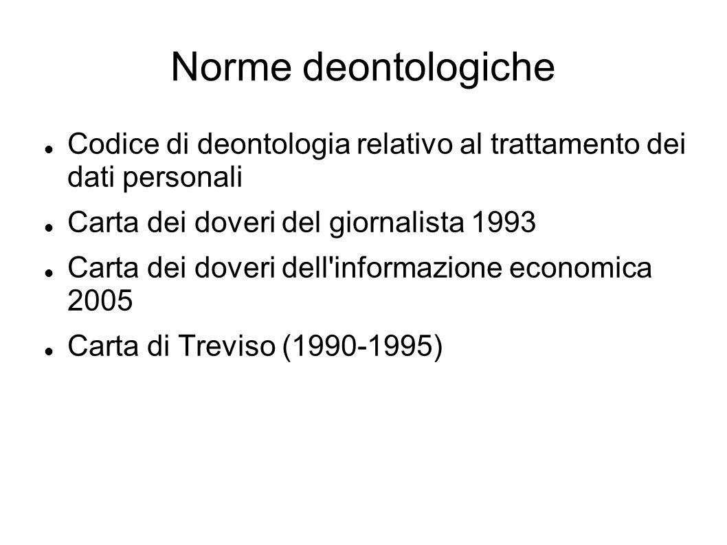 Norme deontologiche Codice di deontologia relativo al trattamento dei dati personali Carta dei doveri del giornalista 1993 Carta dei doveri dell informazione economica 2005 Carta di Treviso (1990-1995)
