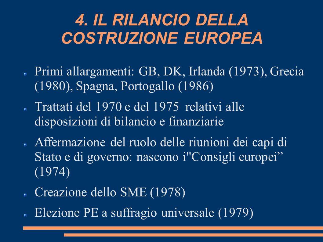 4. IL RILANCIO DELLA COSTRUZIONE EUROPEA Primi allargamenti: GB, DK, Irlanda (1973), Grecia (1980), Spagna, Portogallo (1986) Trattati del 1970 e del
