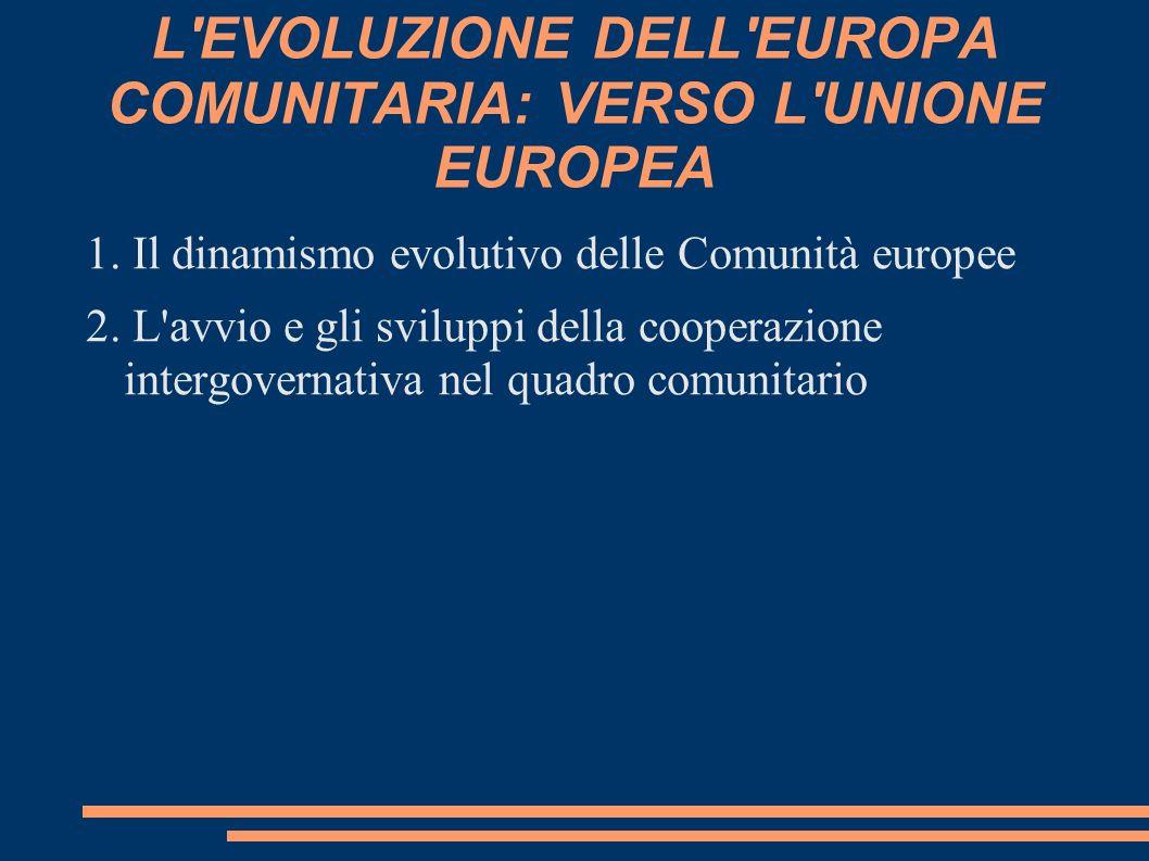 L'EVOLUZIONE DELL'EUROPA COMUNITARIA: VERSO L'UNIONE EUROPEA 1. Il dinamismo evolutivo delle Comunità europee 2. L'avvio e gli sviluppi della cooperaz