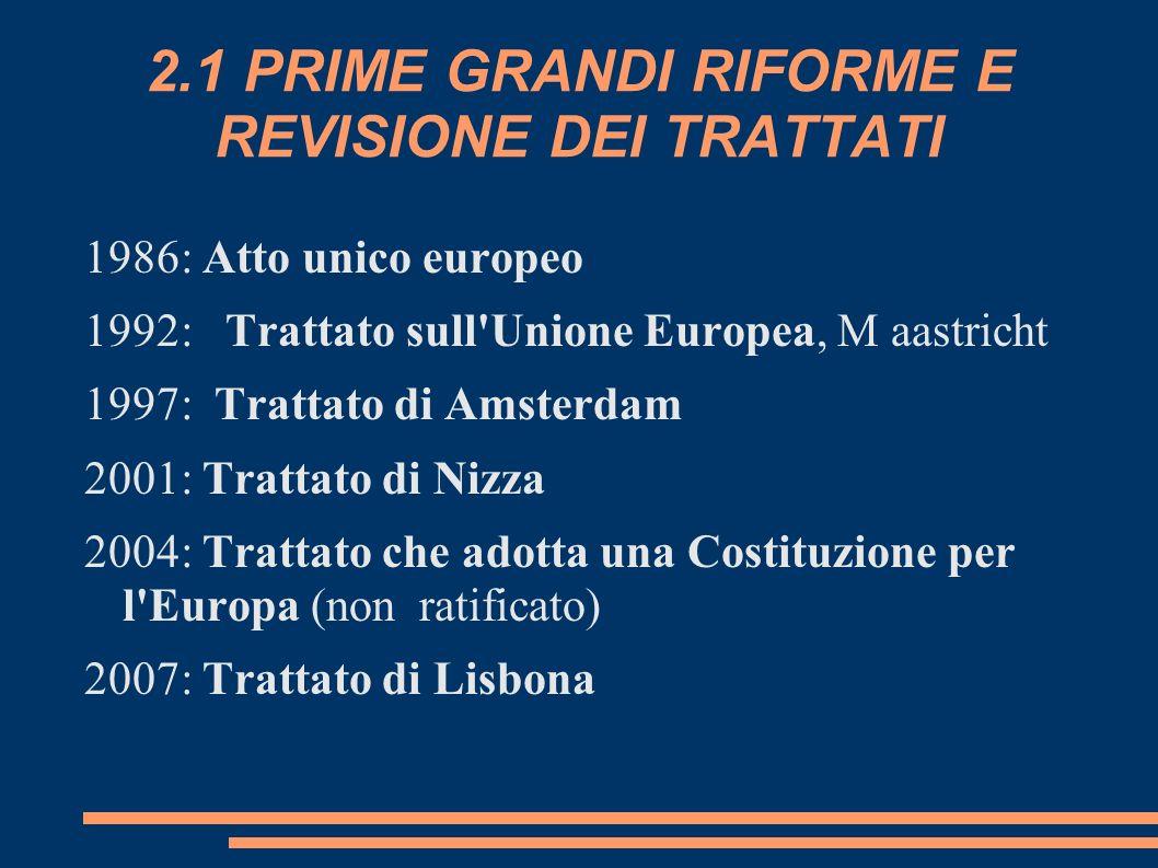 2.1 PRIME GRANDI RIFORME E REVISIONE DEI TRATTATI 1986: Atto unico europeo 1992: Trattato sull'Unione Europea, M aastricht 1997: Trattato di Amsterdam