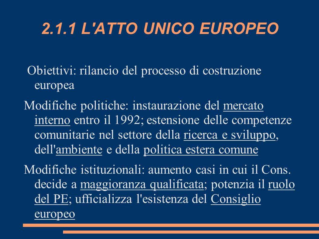 2.1.1 L'ATTO UNICO EUROPEO Obiettivi: rilancio del processo di costruzione europea Modifiche politiche: instaurazione del mercato interno entro il 199