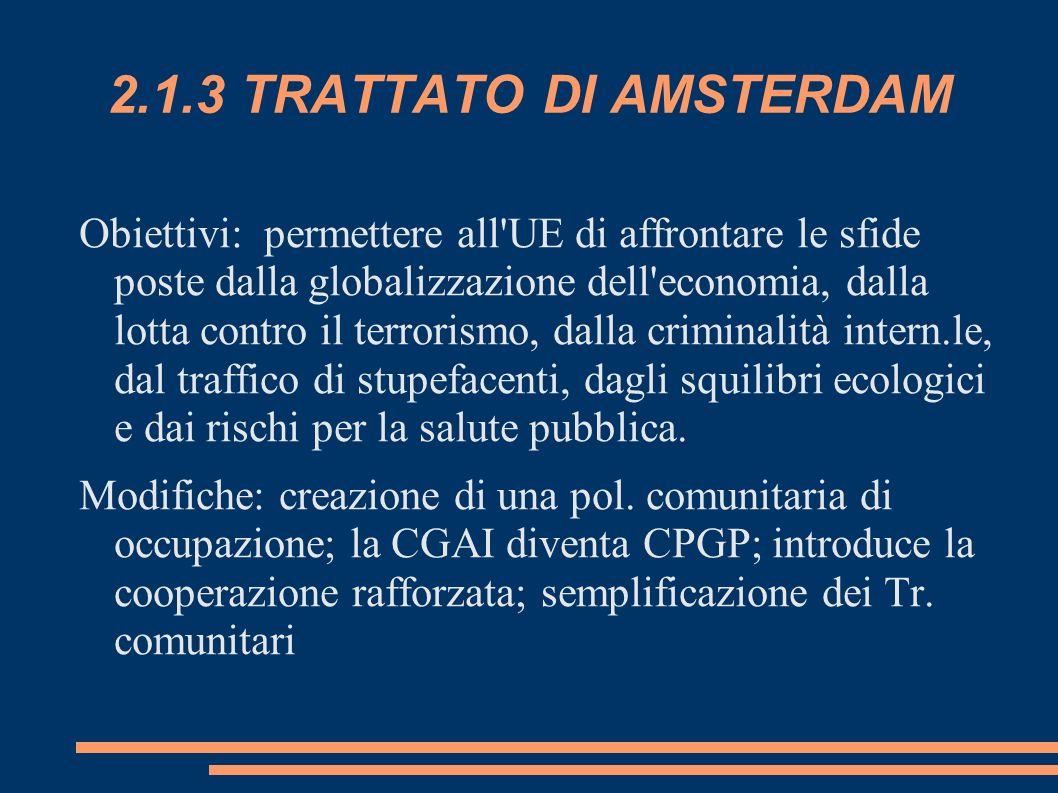 2.1.3 TRATTATO DI AMSTERDAM Obiettivi: permettere all'UE di affrontare le sfide poste dalla globalizzazione dell'economia, dalla lotta contro il terro