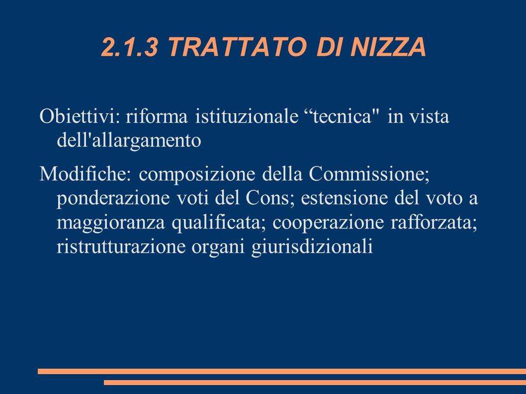 2.1.3 TRATTATO DI NIZZA Obiettivi: riforma istituzionale tecnica