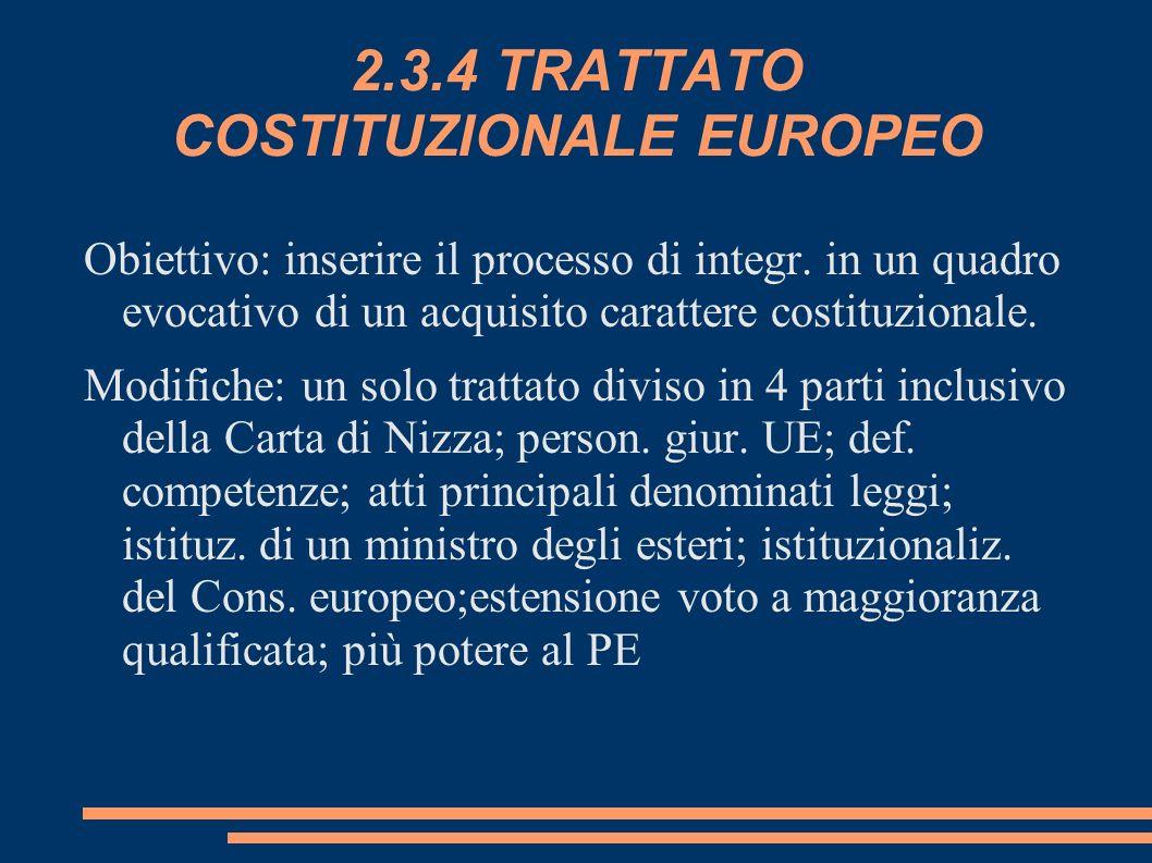 2.3.4 TRATTATO COSTITUZIONALE EUROPEO Obiettivo: inserire il processo di integr. in un quadro evocativo di un acquisito carattere costituzionale. Modi