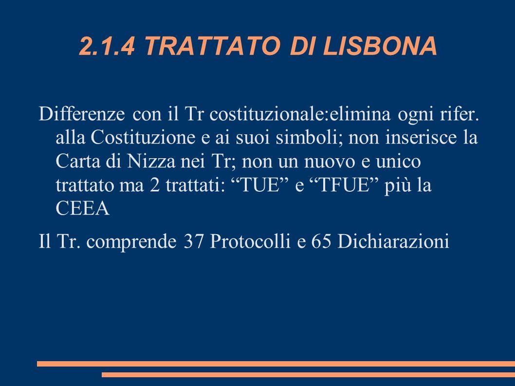 2.1.4 TRATTATO DI LISBONA Differenze con il Tr costituzionale:elimina ogni rifer. alla Costituzione e ai suoi simboli; non inserisce la Carta di Nizza