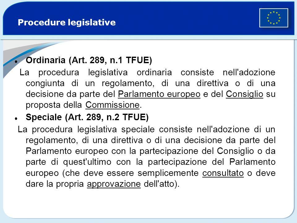 Procedure legislative Ordinaria (Art. 289, n.1 TFUE) La procedura legislativa ordinaria consiste nell'adozione congiunta di un regolamento, di una dir