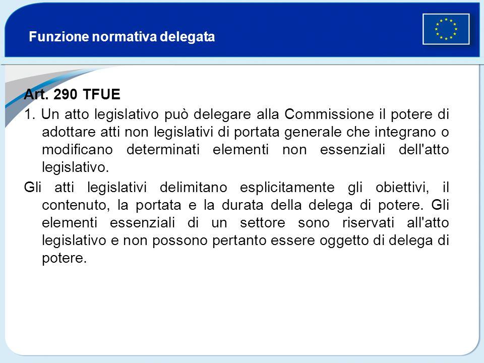 Funzione normativa delegata Art. 290 TFUE 1. Un atto legislativo può delegare alla Commissione il potere di adottare atti non legislativi di portata g