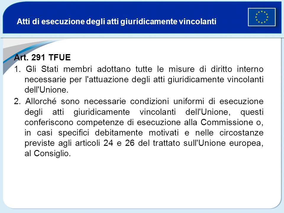 Atti di esecuzione degli atti giuridicamente vincolanti Art. 291 TFUE 1. Gli Stati membri adottano tutte le misure di diritto interno necessarie per l
