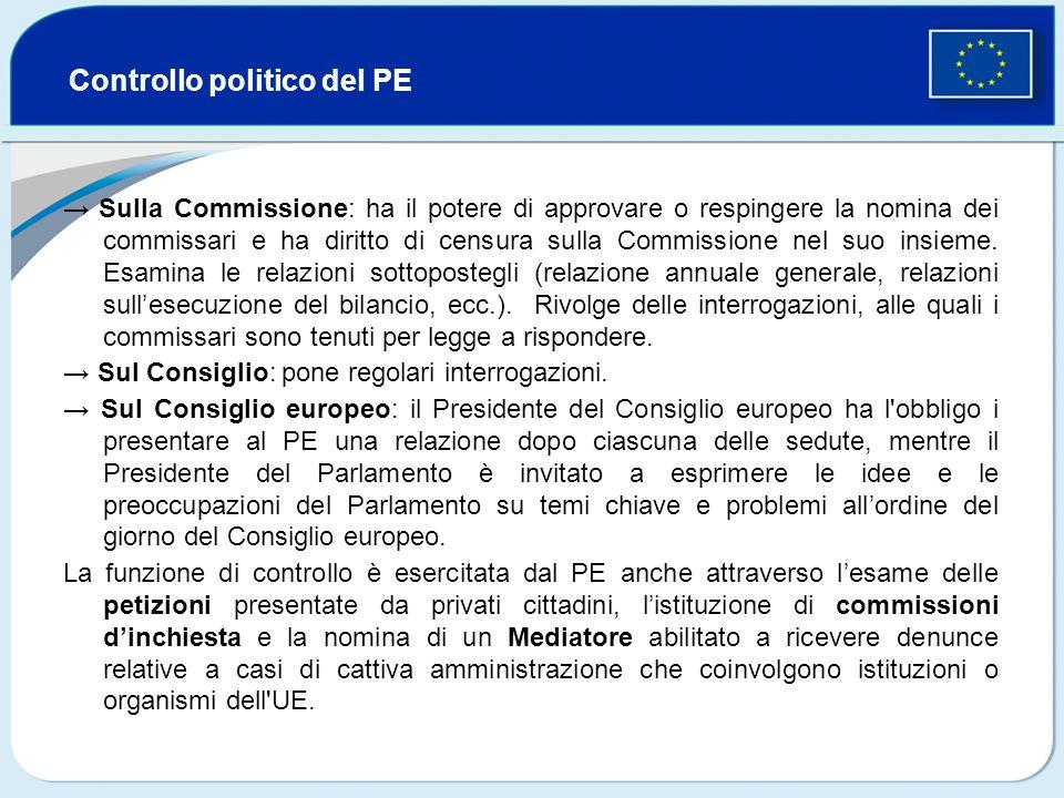 Controllo politico del PE Sulla Commissione: ha il potere di approvare o respingere la nomina dei commissari e ha diritto di censura sulla Commissione