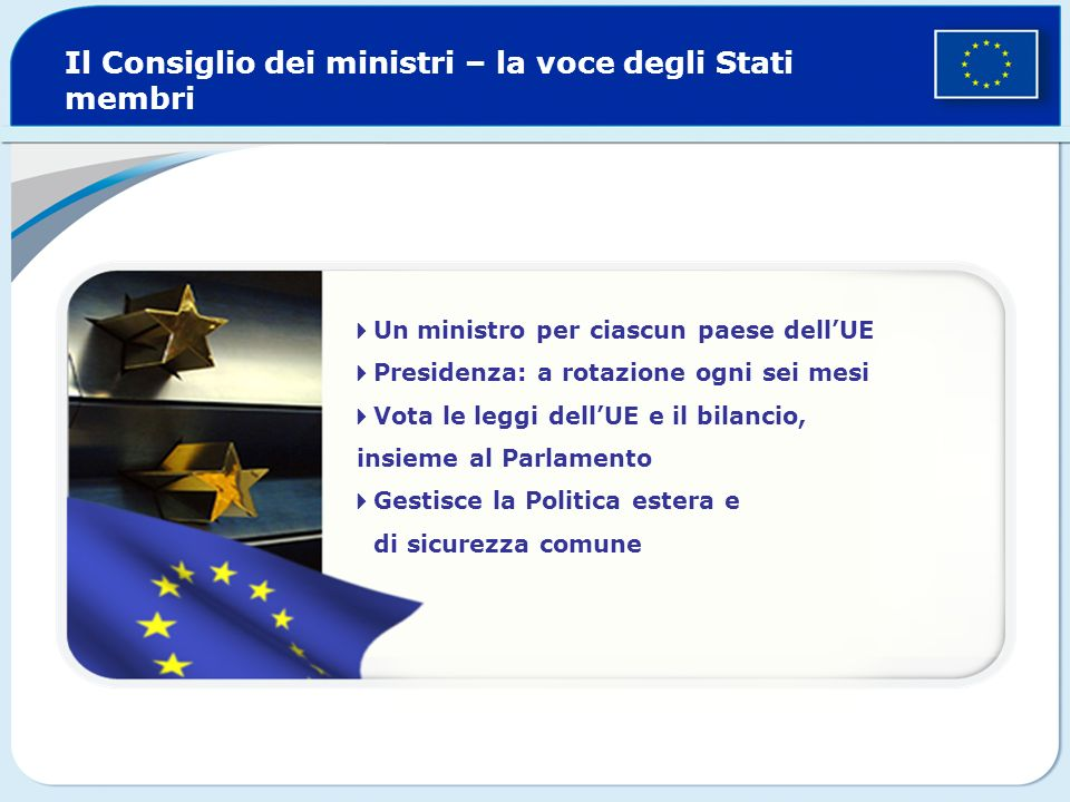Il Consiglio dei ministri – la voce degli Stati membri Un ministro per ciascun paese dellUE Presidenza: a rotazione ogni sei mesi Vota le leggi dellUE