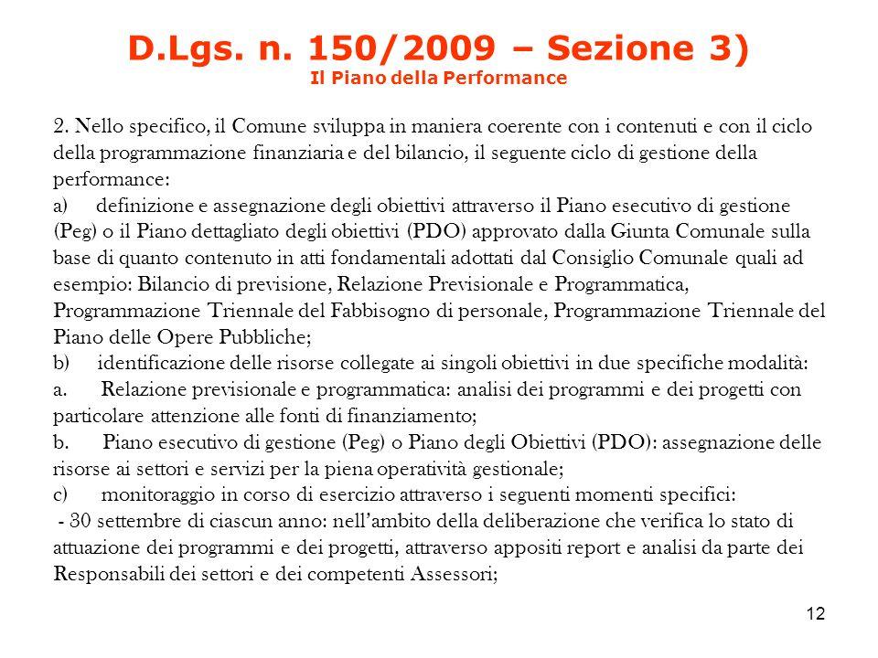 D.Lgs. n. 150/2009 – Sezione 3) Il Piano della Performance 2.