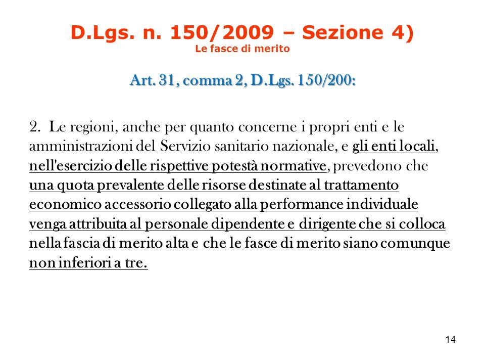 D.Lgs. n. 150/2009 – Sezione 4) Le fasce di merito Art.