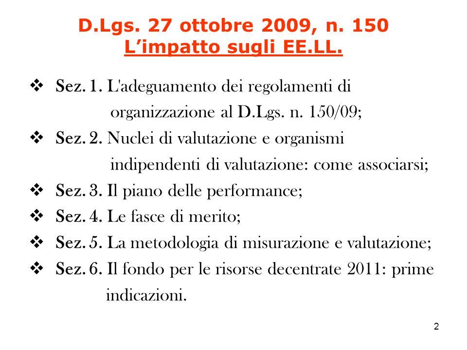 Sez. 1. L adeguamento dei regolamenti di organizzazione al D.Lgs.