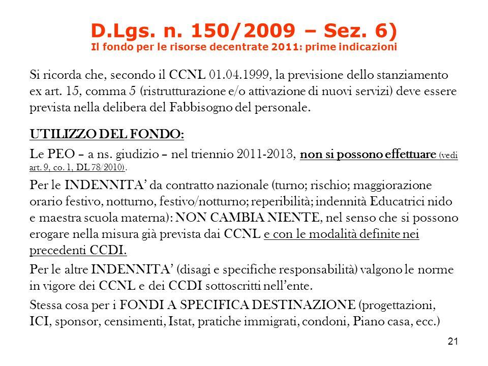 D.Lgs. n. 150/2009 – Sez.