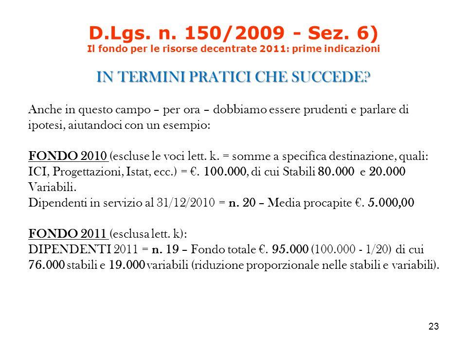 D.Lgs. n. 150/2009 - Sez.