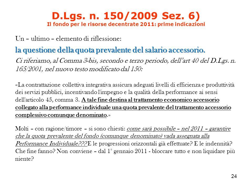 D.Lgs. n. 150/2009 Sez.