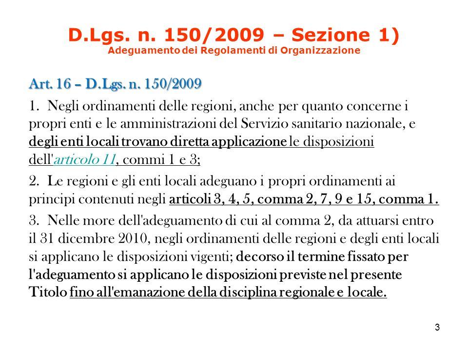 D.Lgs. n. 150/2009 – Sezione 1) Adeguamento dei Regolamenti di Organizzazione Art.