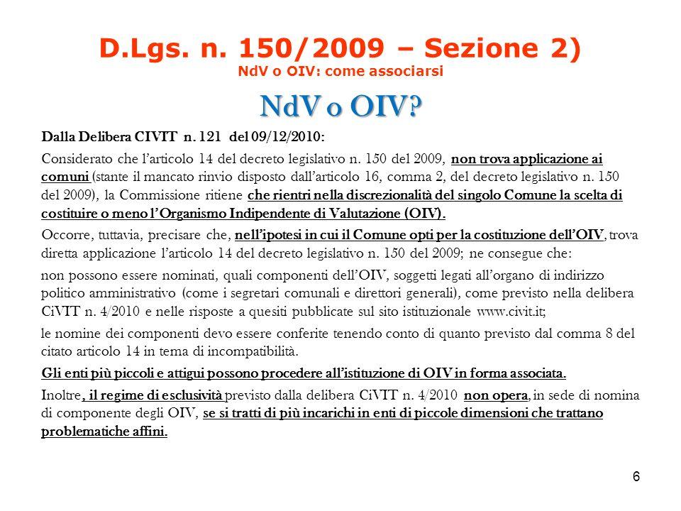 D.Lgs. n. 150/2009 – Sezione 2) NdV o OIV: come associarsi NdV o OIV.