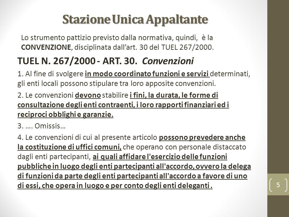 Stazione Unica Appaltante Lo strumento pattizio previsto dalla normativa, quindi, è la CONVENZIONE, disciplinata dallart. 30 del TUEL 267/2000. TUEL N