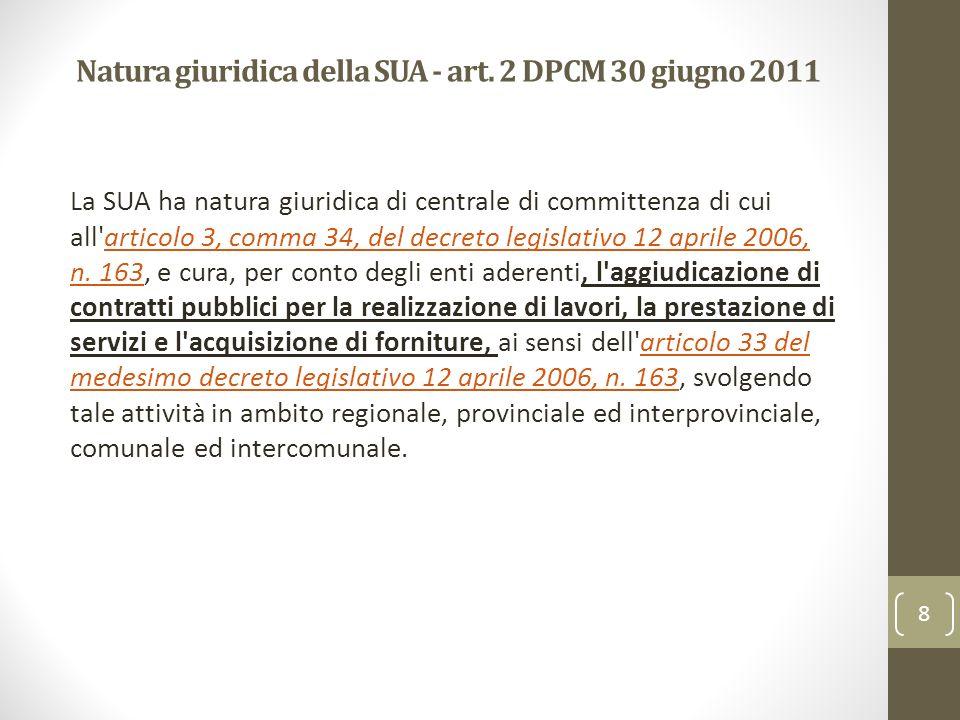 Natura giuridica della SUA - art. 2 DPCM 30 giugno 2011 La SUA ha natura giuridica di centrale di committenza di cui all'articolo 3, comma 34, del dec