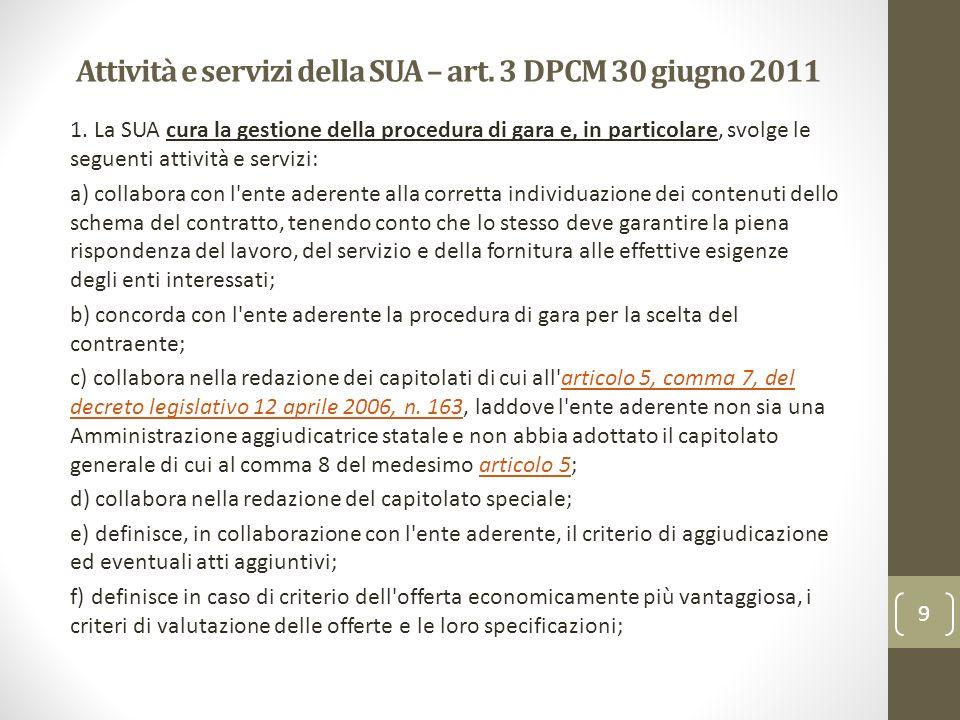 Attività e servizi della SUA – art. 3 DPCM 30 giugno 2011 1. La SUA cura la gestione della procedura di gara e, in particolare, svolge le seguenti att
