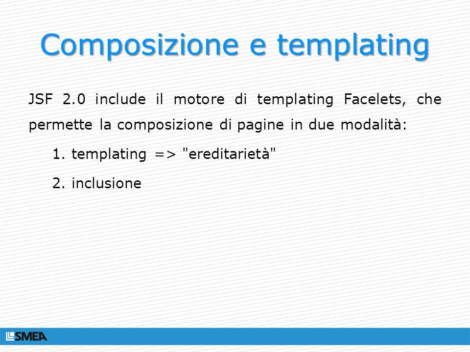 Composizione e templating JSF 2.0 include il motore di templating Facelets, che permette la composizione di pagine in due modalità: 1. templating =>