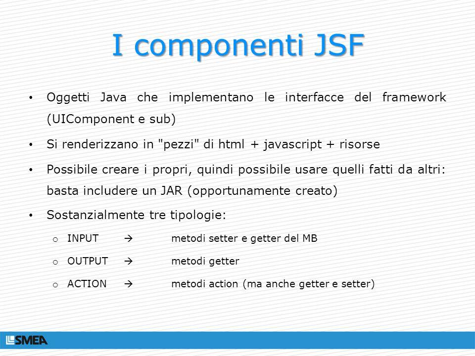 I componenti JSF Oggetti Java che implementano le interfacce del framework (UIComponent e sub) Si renderizzano in