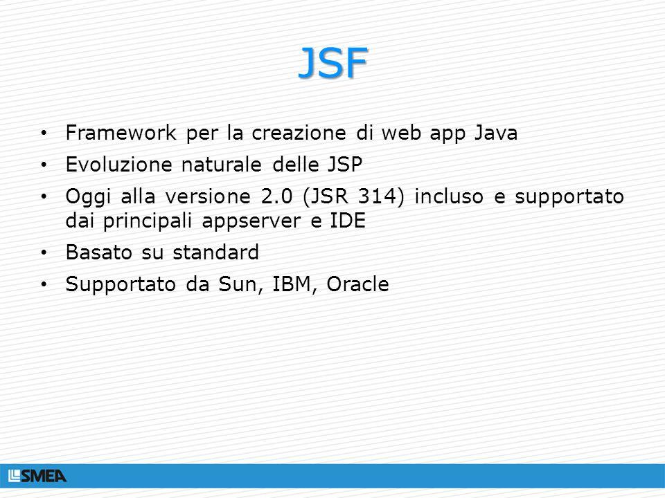 JSF Framework per la creazione di web app Java Evoluzione naturale delle JSP Oggi alla versione 2.0 (JSR 314) incluso e supportato dai principali apps