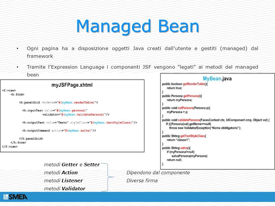 Managed Bean Ogni pagina ha a disposizione oggetti Java creati dall'utente e gestiti (managed) dal framework Tramite l'Expression Language i component