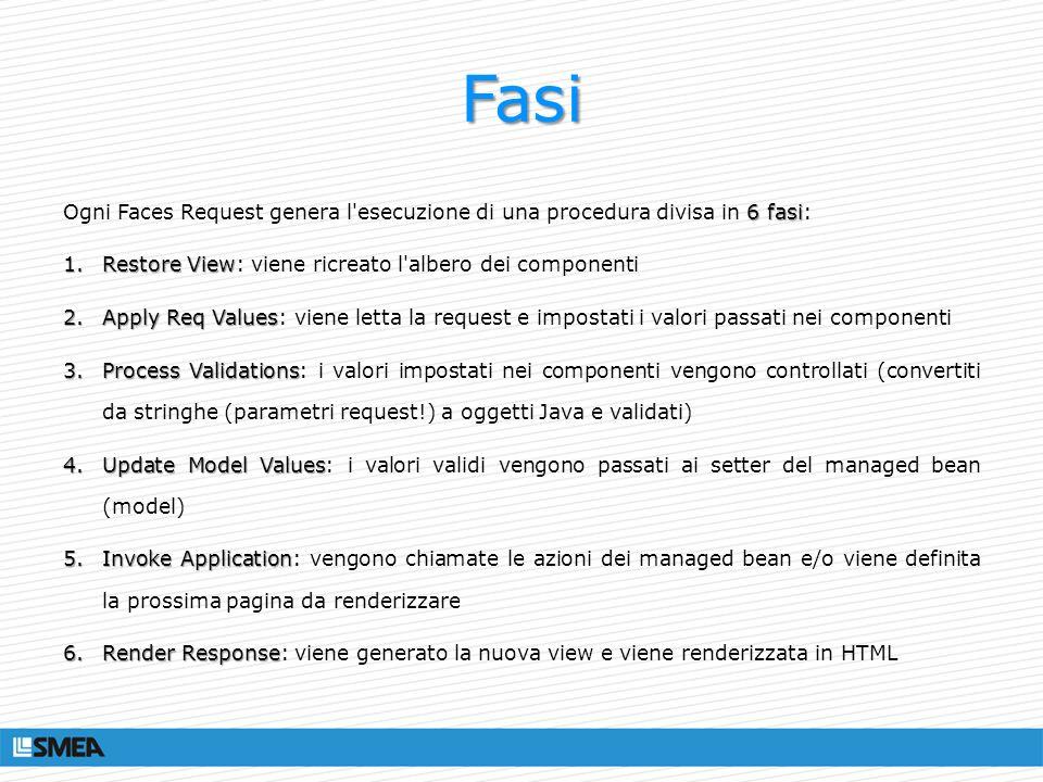 Validators Classi e/o metodi del MB che validano gli oggetti (già convertiti) passati come input dalla pagina Validatori built-in: Validatori custom: @FacesValidator (value= validaEmail) public class ValidaEmail implements Validator Nella pagina: