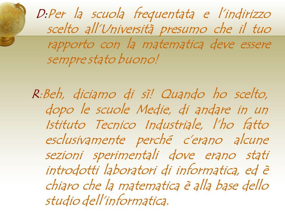 D:Qual è il ruolo dellinformatica nella nostra società R:Il ruolo dellinformatica nella nostra società ormai è diventato fondamentale.