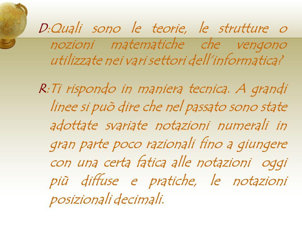 D:Quali sono le teorie, le strutture o nozioni matematiche che vengono utilizzate nei vari settori dellinformatica? R:Ti rispondo in maniera tecnica.
