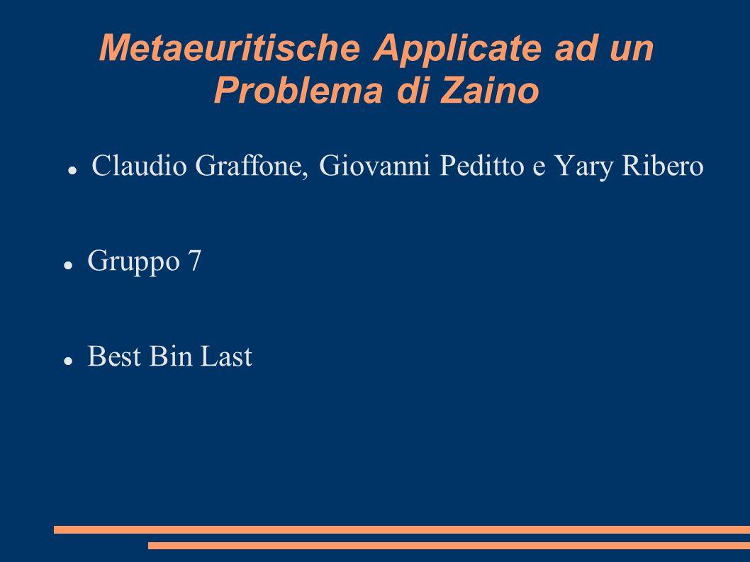 Metaeuritische Applicate ad un Problema di Zaino Claudio Graffone, Giovanni Peditto e Yary Ribero Gruppo 7 Best Bin Last