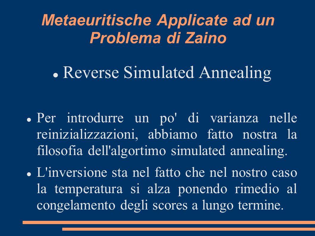 Metaeuritische Applicate ad un Problema di Zaino Reverse Simulated Annealing Per introdurre un po di varianza nelle reinizializzazioni, abbiamo fatto nostra la filosofia dell algortimo simulated annealing.