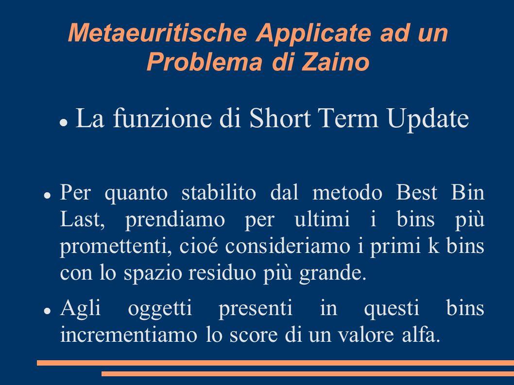 Metaeuritische Applicate ad un Problema di Zaino La funzione di Short Term Update Per quanto stabilito dal metodo Best Bin Last, prendiamo per ultimi