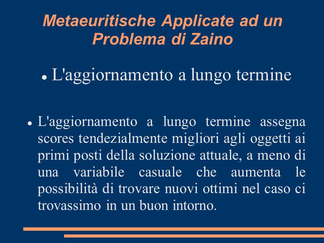Metaeuritische Applicate ad un Problema di Zaino L'aggiornamento a lungo termine L'aggiornamento a lungo termine assegna scores tendezialmente miglior