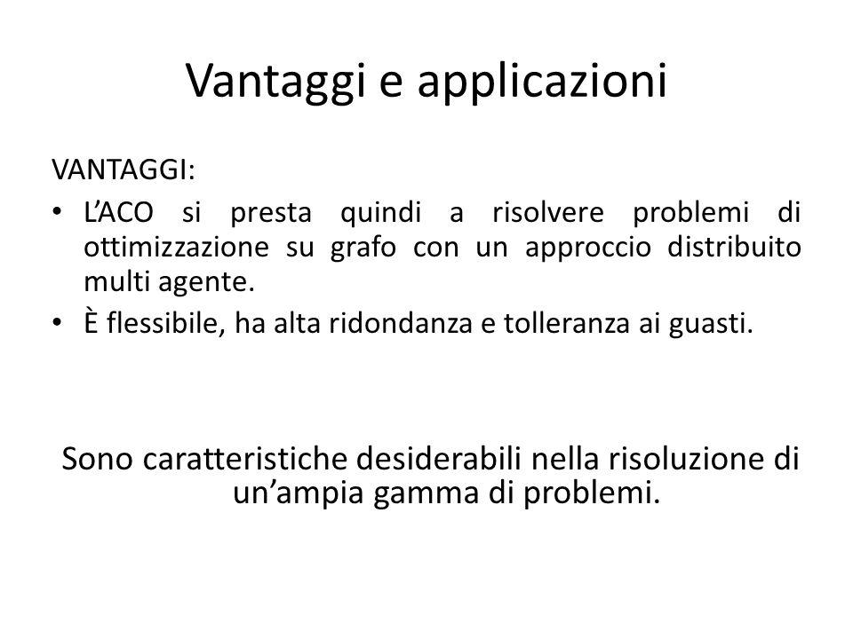 Vantaggi e applicazioni VANTAGGI: LACO si presta quindi a risolvere problemi di ottimizzazione su grafo con un approccio distribuito multi agente.