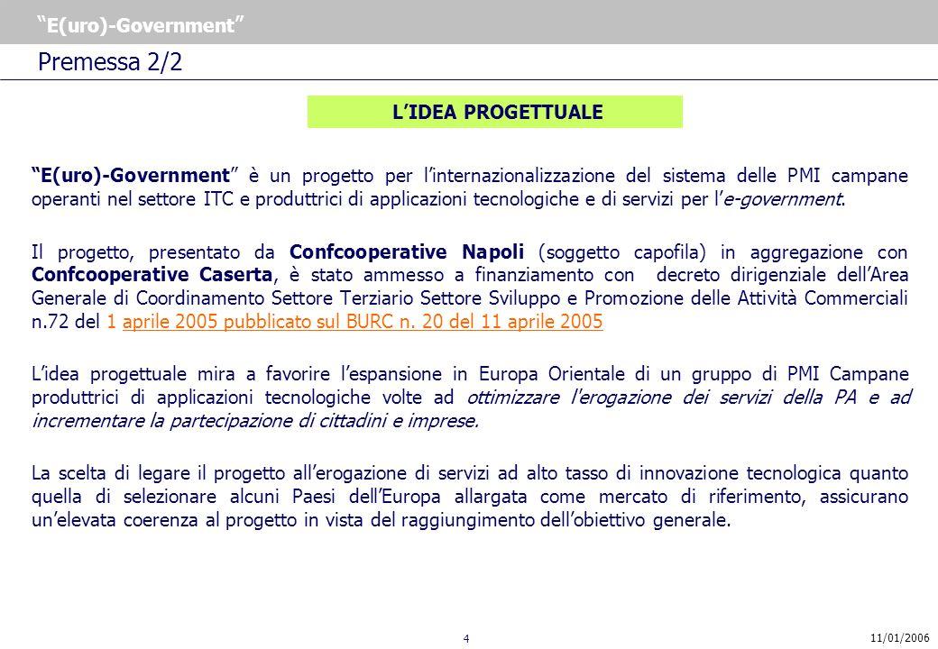 4 E(uro)-Government 11/01/2006 LIDEA PROGETTUALE E(uro)-Government è un progetto per linternazionalizzazione del sistema delle PMI campane operanti nel settore ITC e produttrici di applicazioni tecnologiche e di servizi per le-government.