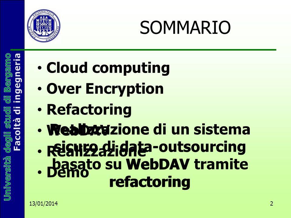 13/01/2014 2 SOMMARIO Realizzazione di un sistema sicuro di data-outsourcing basato su WebDAV tramite refactoring Cloud computing Over Encryption Refactoring WebDAV Realizzazione Demo Realizzazione sicurodata-outsourcing WebDAV refactoring