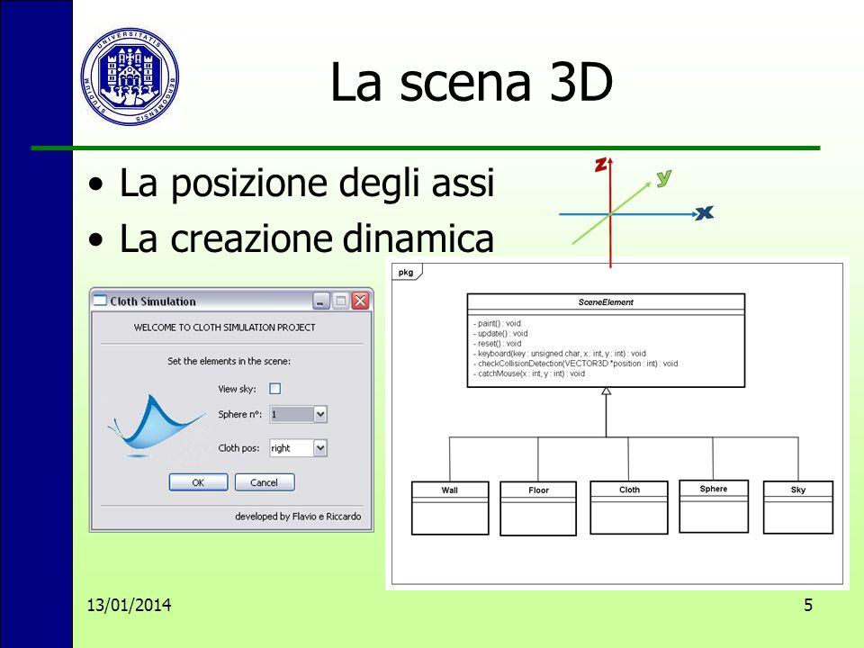 La scena 3D La posizione degli assi La creazione dinamica 13/01/20145