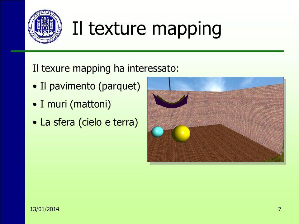Il texture mapping 13/01/20147 Il texure mapping ha interessato: Il pavimento (parquet) I muri (mattoni) La sfera (cielo e terra)