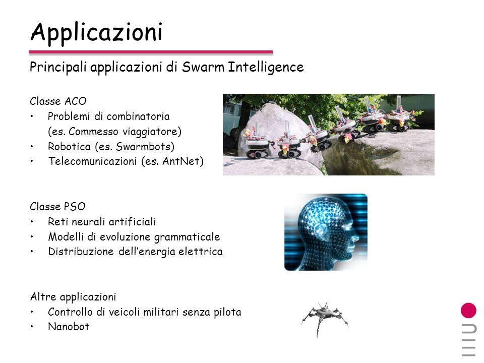 Principali applicazioni di Swarm Intelligence Classe ACO Problemi di combinatoria (es. Commesso viaggiatore) Robotica (es. Swarmbots) Telecomunicazion