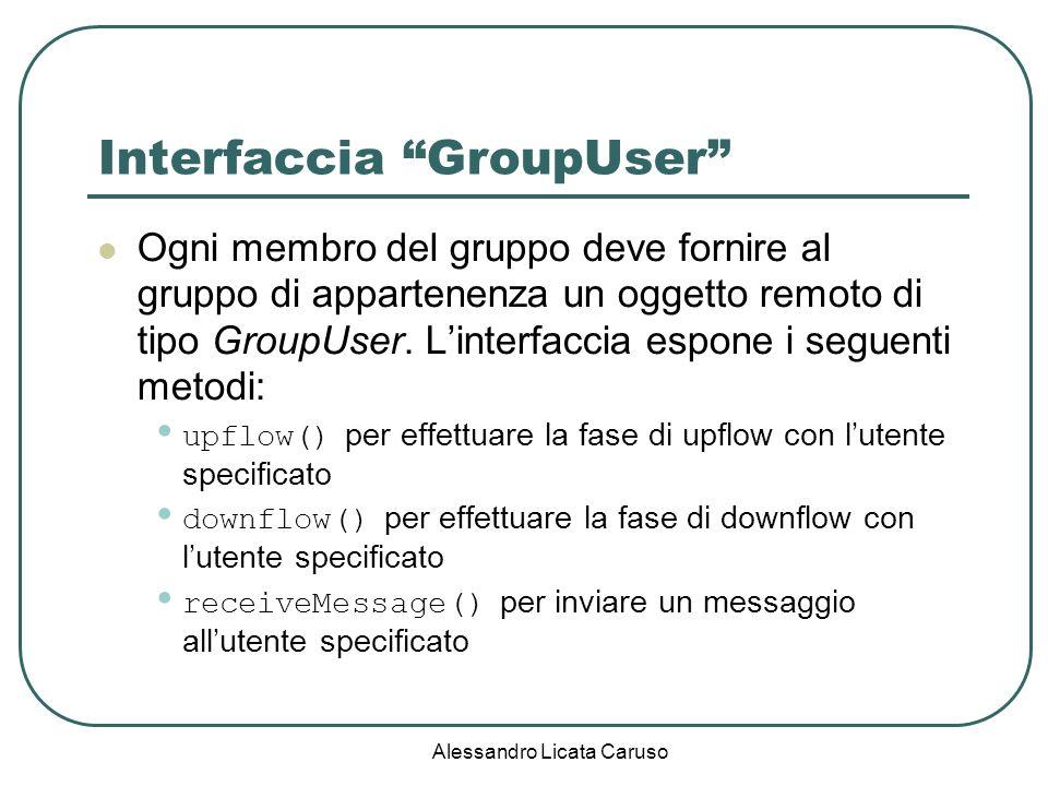 Alessandro Licata Caruso Interfaccia GroupUser Ogni membro del gruppo deve fornire al gruppo di appartenenza un oggetto remoto di tipo GroupUser. Lint