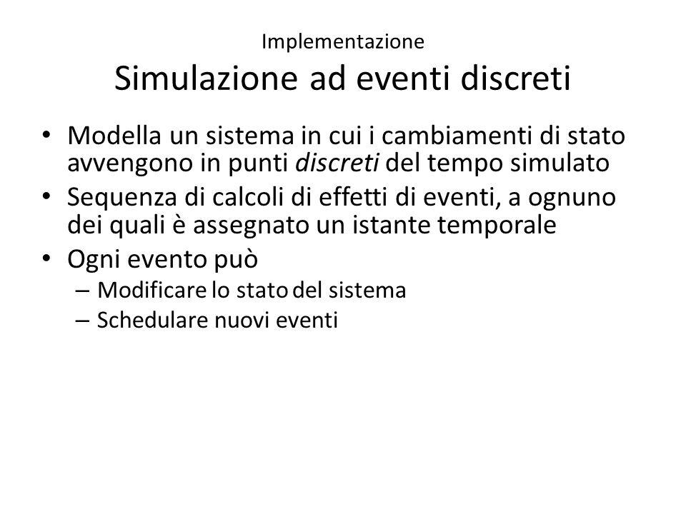 Implementazione Simulazione ad eventi discreti Modella un sistema in cui i cambiamenti di stato avvengono in punti discreti del tempo simulato Sequenza di calcoli di effetti di eventi, a ognuno dei quali è assegnato un istante temporale Ogni evento può – Modificare lo stato del sistema – Schedulare nuovi eventi