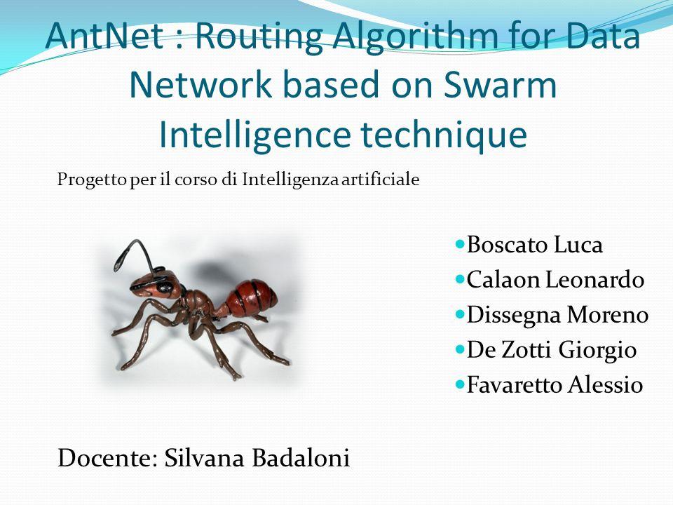 AntNet : Routing Algorithm for Data Network based on Swarm Intelligence technique Boscato Luca Calaon Leonardo Dissegna Moreno De Zotti Giorgio Favare