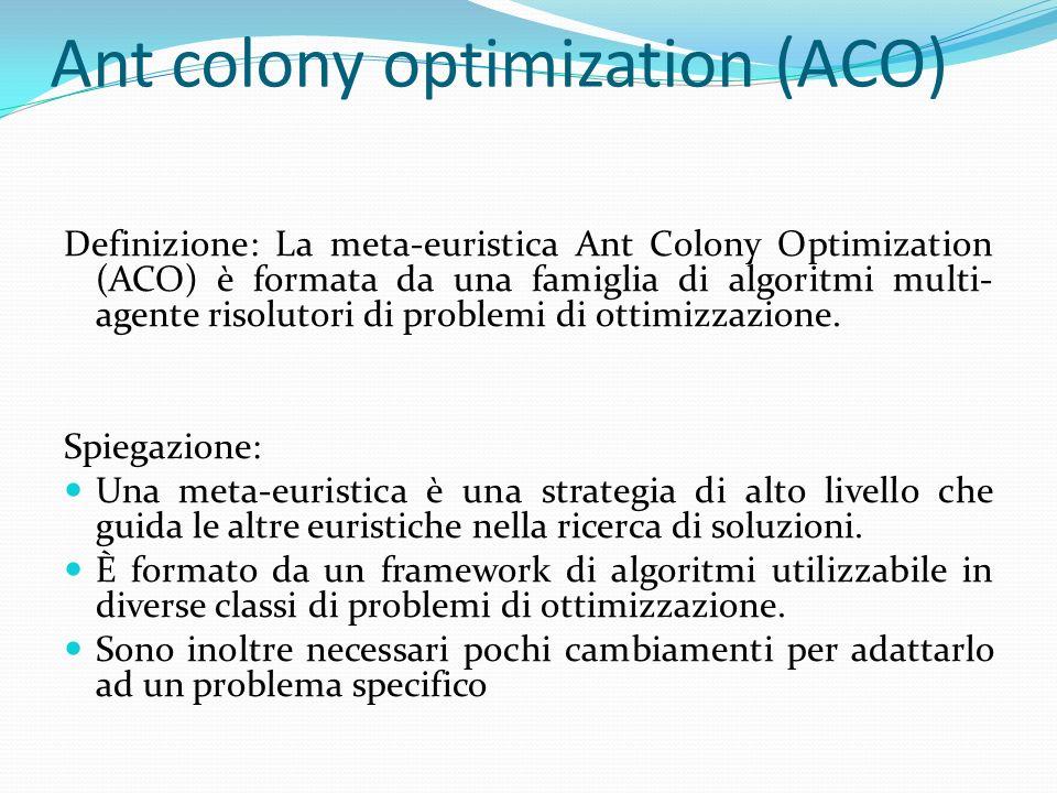 Ant colony optimization (ACO) Definizione: La meta-euristica Ant Colony Optimization (ACO) è formata da una famiglia di algoritmi multi- agente risolu