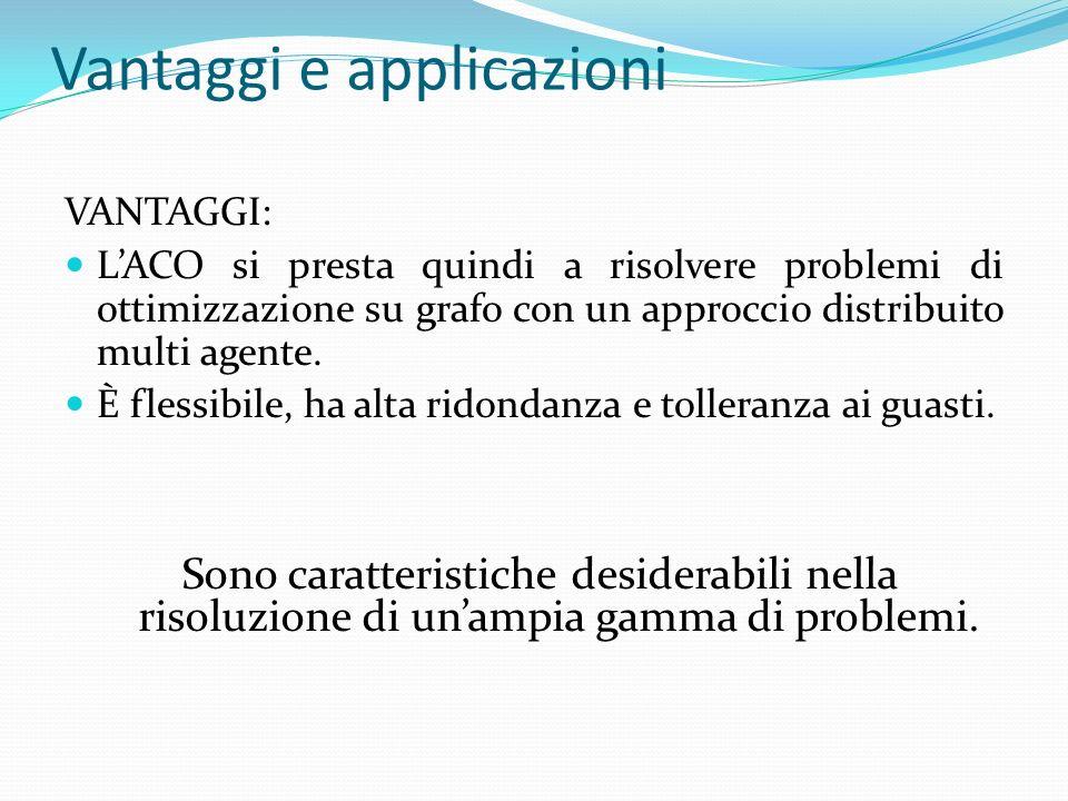 Vantaggi e applicazioni VANTAGGI: LACO si presta quindi a risolvere problemi di ottimizzazione su grafo con un approccio distribuito multi agente. È f