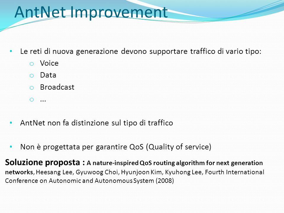 AntNet Improvement Le reti di nuova generazione devono supportare traffico di vario tipo: o Voice o Data o Broadcast o... AntNet non fa distinzione su