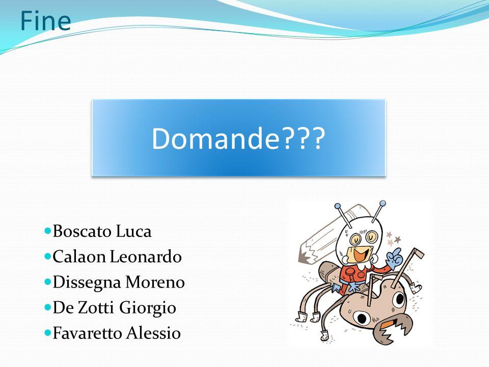 Fine Domande??? Boscato Luca Calaon Leonardo Dissegna Moreno De Zotti Giorgio Favaretto Alessio